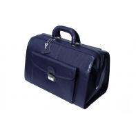 Uniwersalna torba lekarska, praktyczna, skóra naturalna, granatowa