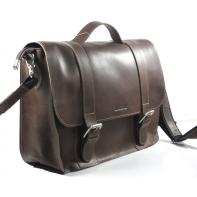 Skórzana torba z klapą na ramię, brązowa