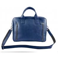 Skórzana torba na ramię na laptopa, A4, jasno szara
