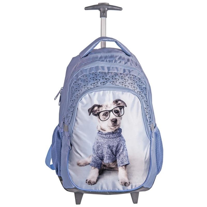 e6d56bd16a176 Plecak szkolny na kółkach Paso, pies w okularach