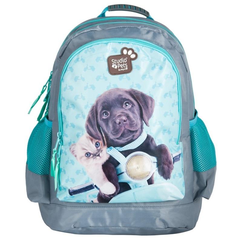 1dd742e7777 Plecak szkolny dla dziewczynki Paso kot i pies na motorze