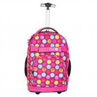 Plecak szkolny na kółkach Paso, duże koła, motyw kolorowe kółka