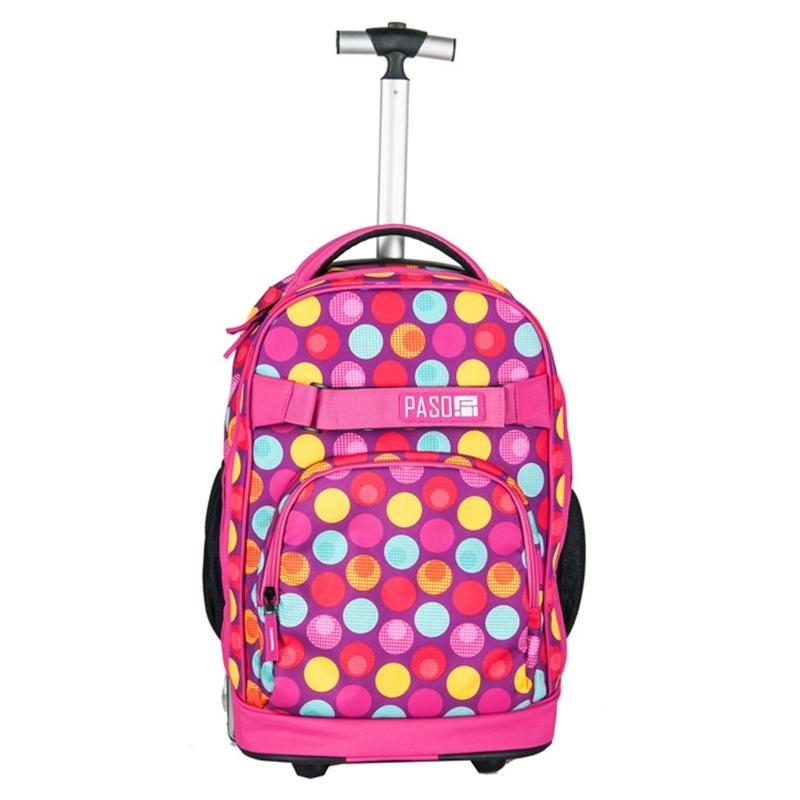 6be609f8fc3fb Plecak szkolny na kółkach Paso, duże koła, motyw kolorowe kółka