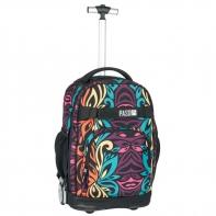 Plecak szkolny na kółkach Paso, duże koła, motyw tęczowy wzór