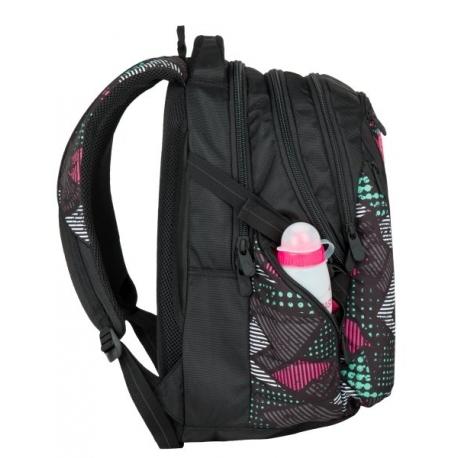 f31ff95382e5f Plecak szkolny młodzieżowy Bagmaster trzykomorowy czarny z kolorowymi  wstawkami