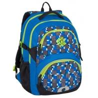 Lekki plecak szkolny Bagmaster w kratkę, niebieski