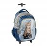 Plecak szkolny na kółkach Paso, kotek w koronie