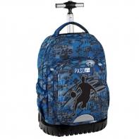 Plecak szkolny na kółkach Paso, duże koła, niebieski z motywem koszykarskim