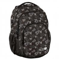 Lekki plecak szkolny Paso, czarny w piłki