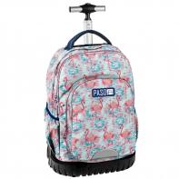 Plecak szkolny na kółkach Paso, duże koła, z flamingami