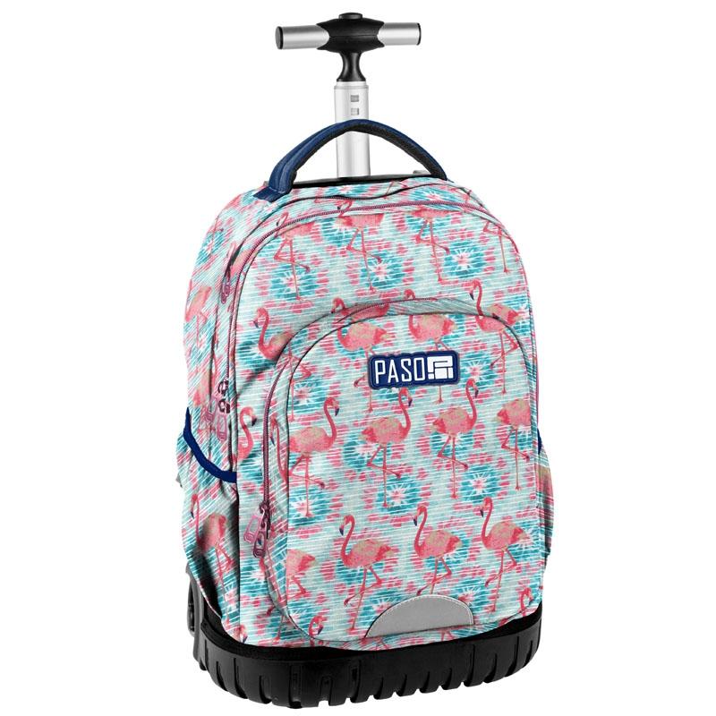 d1f456c6d7465 Plecak szkolny na kółkach Paso, duże koła, z flamingami