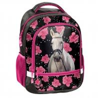Lekki plecak szkolny z białym koniem, Paso