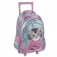 Plecak szkolny na kółkach Paso, kotek