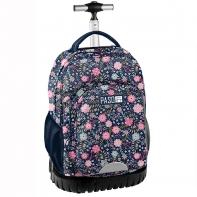Plecak szkolny na kółkach Paso, kwiatki