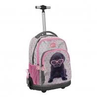 Plecak szkolny na kółkach Paso, labrador w okularach