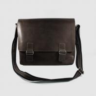Skórzana torba z klapą na ramię na laptopa, A4, brązowa