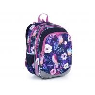 Plecak dwukomorowy dla dziewczynki Topgal ELLY 21004 G KWIATY I PTAKI