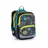 Dwukomorowy plecak Topgal BAZI 21014 B wzór ZĘBATYCH KÓŁ